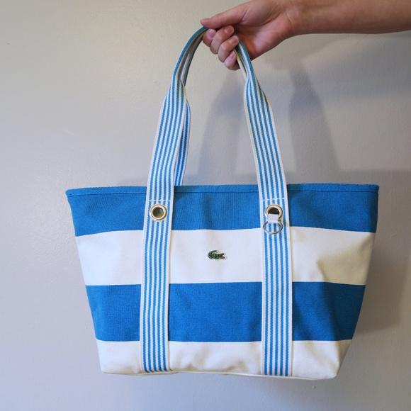 9db93f17147 Lacoste Handbags - [Lacoste] Blue & Cream Striped Canvas Tote Bag